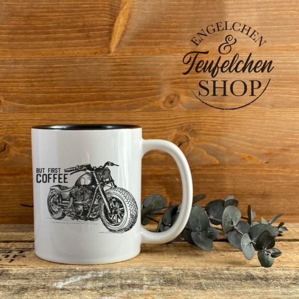Biker Tasse - But first coffee